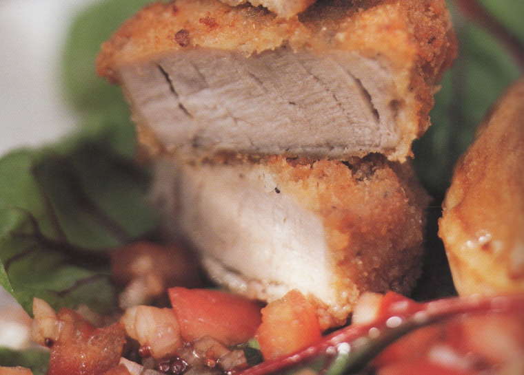 Love Bites: Pork Tenderloin with herb vinaigrette and baked potato puffs