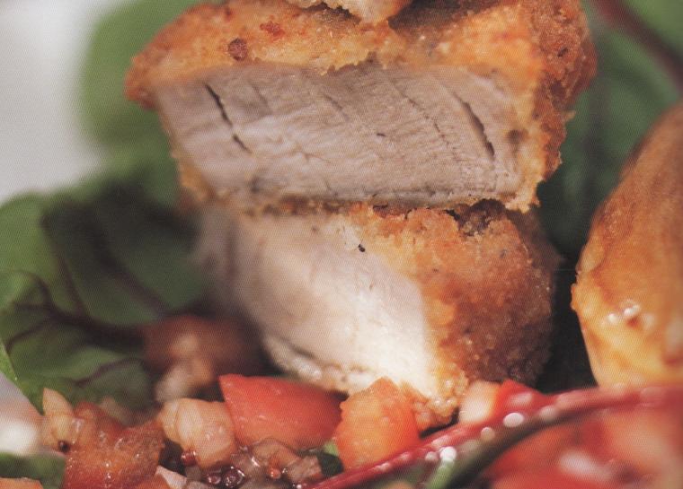 Love Bites: Pork Tenderloin with herb vinaigrette and baked potato puffs